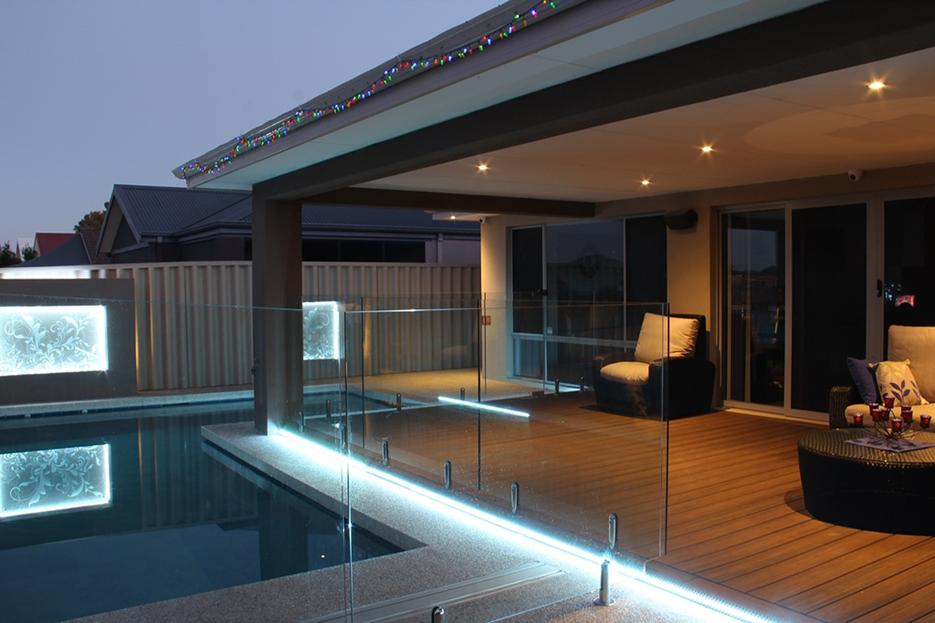 modern patio and pool