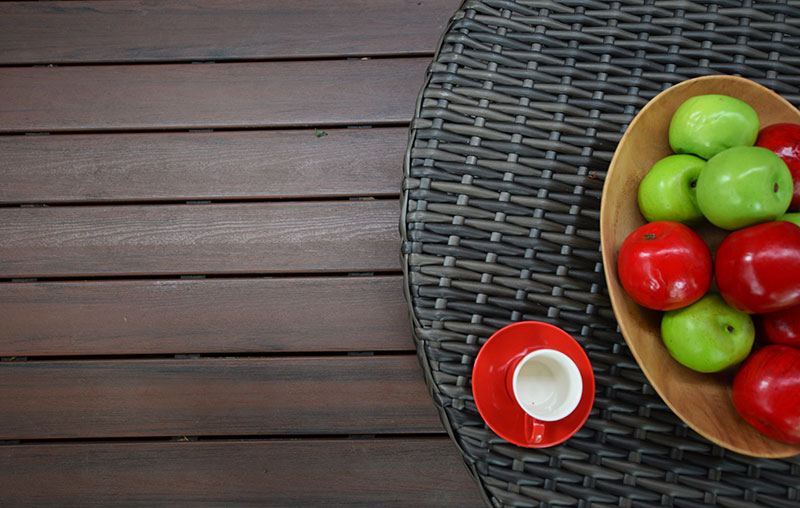 fruit tray on dark low maintenance deck