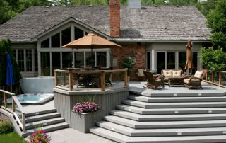 composite deck with magnificent staircase