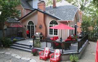 deck with Canadian flag chairs