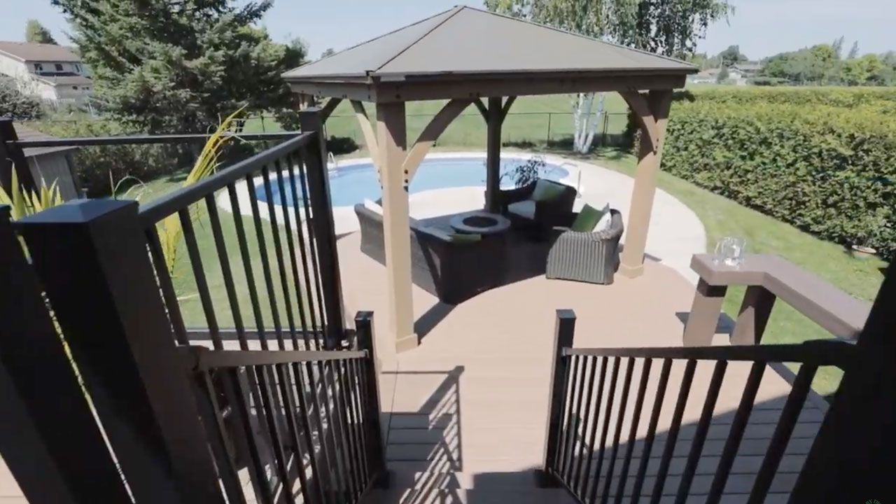 deck leading to pool